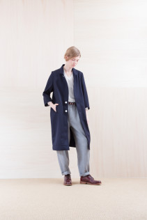 Coat_ NA15-C213 CECT-L 58,500yen+tax br; Cut&Sewn_ NA15-T52 BRRT 10,500yen+tax br; Pants_ NA15-P132 WDPT 24,500yen+tax br; Belt_ Belt_ FA15092 GRACILIA 13 COPPER 6,500yen+tax  Sox_ FA15041 LANA01 3,300yen+tax br; Shoes_ FA15051 REGALIA DURA-L 98,000yen+tax