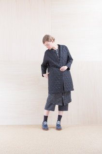 Coat_ NA15-C181 QVNCT 48,000yen+tax br; ShirtsDress_ NA15-O123 KMMOP 28,500yen+tax br; Pants_ NA15-P72 GMSL 24,000yen+tax br; Sox_ FA15041 LANA01 3,300yen+tax br; Shoes_ FA15061 ORDINARIA DURA-L 59,000yen+tax