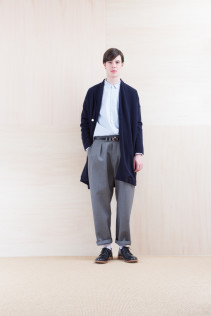KnitCoat_ NA15-T174 137OCT 36,000yen+tax br; Shirts_ NA15-S16 WDSH 19,500yen+tax br; Pants_ NA15-P211 SBCN 32,000yen+tax br; Belt_ FA15092 GRACILIA 13 COPPER 6,500yen+tax br; Shoes_ FA15056 REGALIA DURA-M 98,000yen+tax