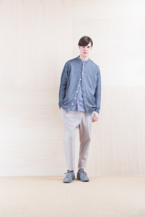 Cardigan_ NA15-T81 G144CD 19,000yen+tax br; Shirts_ NA15-S19 LGSH 21,000yen+tax br; Pants_ NA15-P41 YGPT 21,500yen+tax