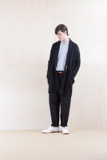 KnitCoat_ NA15-K203 BSCK 46,500yen+tax br; Shirts_ NA15-S19 LGSH 21,000yen+tax br; Pants_ NA15-P111 NSBCN 21,500yen+tax br; Belt_ FA15092 GRACILIA 13 COPPER 6,500yen+tax br; Shoes_ FA15086 SIMPLICIA DURA-M 48,000yen+tax
