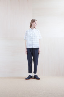 Shirts_ S15-S161 JSOSH  18,000yen+tax br; Pants_ S15-P21 SLSL  22,000yen+tax  br; Sox_ S15-SO252 Linen rib sox 2,350yen+tax br;  Shoes_ prototype
