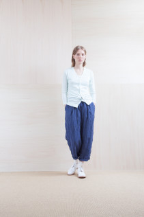 Cardigan_ S15-T203 FRICD 9,500yen+tax br;  Pants_ S15-P131 WEPT 24,000yen+tax br; Sox_ S15-SO252 Linen rib sox 2,350yen+tax br;