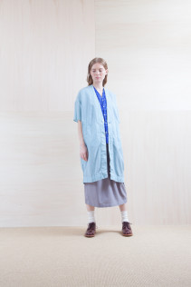 Coat_ S15-C222 VSOCT 19,500yen+tax br; Shirts_ S15-S163 VFSH 16,000yen+tax br; Skirt_ S15-SK114 TPSK 19,500yen+tax br; Sox_ S15-SO252 Linen rib sox 2,350yen+tax br; Shoes_ prototype