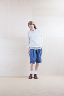 Knit_ S15-K71 KYKV 19,500yen+tax br; Shirts_ S15-S32 JMSH 18,000yen+tax br; Pants_ S15-P12 SRSL 18,500yen+tax br; Sox_ S15-SO252 Linen rib sox 2,350yen+tax br; Shoes_ prototype