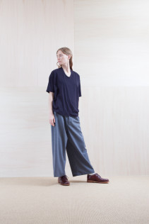 Cut&Sewn_ S15-T193 OST 6,900yen+tax br; Pants_ S15-P25 SKPT 21,500yen+tax br; Sox_ S15-SO252 Linen rib sox 2,350yen+tax br; Shoes_ prototype