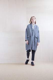 Coat_ S15-C231 LHCT 36,000yen+tax br; Shirts_ S15-S161 JSOSH  18,000yen+tax br; Pants_ S15-P21 SLSL 22,000+tax br; Sox_ S15-SO252 Linen rib sox 2,350yen+tax br; Shoes_ prototype