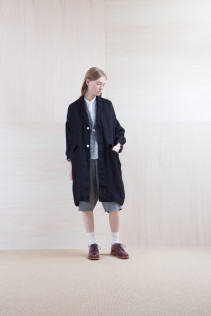 Coat_ S15-C231 LHCT 36,000yen+tax br; Jacket_ S15-J95 NCJK-C 37,500yen+tax br; Shirts_ S15-S31 JSOSH7 18,500yen+tax br; Pants_ S15-P92 LSRSL 22,500yen+tax br; Sox_ S15-SO252 Linen rib sox 2,350yen+tax br; Shoes_ prototype