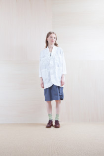 Coat_ S15-C156 WKCT 32,000yen+tax br;  Dress_ S15-O113 FSOP 24,500yen+tax br; Sox_ S15-SO252 Linen rib sox 2,350yen+tax br; Shoes_ prototype