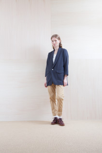 Jacket_ S15-J23 LGJK 34,500yen+tax br; Shirts_ S15-S164 SHSPO 14,500yen+tax br; Pants_ S15-P142 MMDM 22,000yen+tax br; Sox_ S15-SO252 Linen rib sox 2,350yen+tax br; Shoes_ prototype